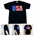 SA106 Mens American Freedom Flag Print Patriotic USA Graphic Black T Shirt