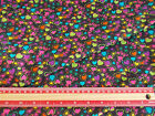 Multi coloured hearts on BLACK / sold by the metre 112cm  wide Polycotton