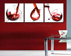 Splashing Wine Into Glasses Modern Art Canvas Print Set Can Add Real Clock