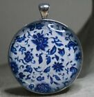 ROUND GLASS TILE PENDANT/FLORAL/CHINESE BLUE PORCELAIN/WILLOW