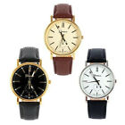 Men's Quartz Analog Gold Dial Sport Wrist Watch Leather Strap