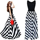 Sexy Women's Summer Boho Striped Long Maxi Evening Cocktail Party Chiffon Dress