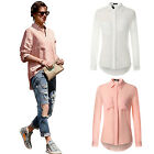 Women Lady Casual Blouse Lapel Collar Long Sleeve Shirt Cotton Linen Tops Tee