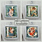 "Letters Initials Cherub Angels Necklace 1"" Silver Handcrafted Charms Pendants"