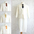 Boy Ivory white black brown orange yellow long tie formal party suit ring bearer