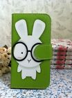Rabbit Baby & Glasses Card Slots Flip Pouch Leather Case for Apple Samsung phone