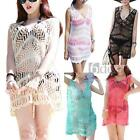 Womens Sexy Sleeveless V Neck Mini Dress Hollow Beach Bikini Cover Up S