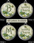 "Letters Initials Lucky Clover Shamrock Necklace 1"" Silver Pewter Charms Pendants"
