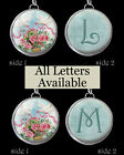 "Letters Initials Vtg Pink Roses Doves Necklace 1"" Silver Pewter Charm Pendant"