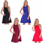 New In Ladies Women Sleeveless Necklace Summer Skater Dress