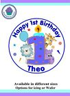 1st Birthday Design Icing / Wafer paper Toppers for large Cake VARIOUS SIZES J01