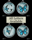 "Initials Letters Blue Buttterfly Necklace 1"" Silver Pewter Charms Pendants ALL"