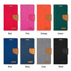for SAMSUNG NOTE 4 Edge CANVAS FABRIC DIARY WALLET HARD CARD CASE COVER STAND