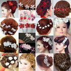Newly Crystal Diamante Rhinestone Flower Pearl Hair Pins Slide Clip Grips Bridal