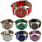 2015 Geneva Unisex Casual Watches Checkers Faux Leather Quartz Analog WristWatch