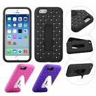 Fashion Diamond Armor Hybrid With Screen Stand Phone Case FR Apple iPhone 6 5.5