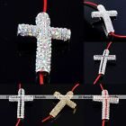 1x Silver Plated Crystal Curved Cross Bead Connector Fit Charms Bracelet Jewelry