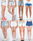 Ladies Vintage Women HighWaist Blue Stone wash Studed Denim Shorts Jeans Hotpant