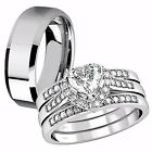 4 Pcs Her Sterling Silver Heart CZ His Tungsten Matching Wedding Ring Band Set