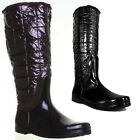 10220 Womens Flat Sole Knee High Wellington Boots Round Toe Side Zip Ladies Well
