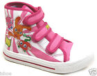 KIDS GIRLS MOSHI MONSTERS PINK CANVAS CASUAL HI TOPS VELCRO TRAINERS SIZE 10-2