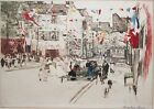 ANSELMO BUCCI-Italian Modernist-Hand Signed LIM.ED Color Etching-Place du Tertre