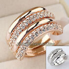 B1-R440 Fashion Rhinestone Wedding Ring Set 18KGP Crystal Size 5.5-9