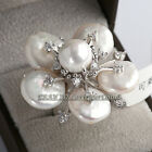A2-R3151 Fashion Flower White Pearl Ring 18KGP Rhinestone Crystal Size 6.5,8,9
