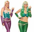 Sexy Glitter Mermaid Fishscale Arm Sleeves Glovettes Womens Costume Accessory