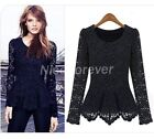 Women Vintage Lace Crochet Casual Business Party Basic Top Peplum Blouse NB45