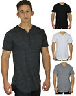Mens Long Henley T-Shirt with Buttons Elongated Extended High Low Bottom Hip Hop