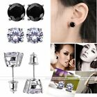 Pair Unisex 3-10mm CZ Crystal Shiny White Gold Plated Ear Stud Earrings Jewelry