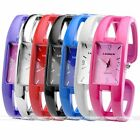 Women's Colorful Rectangle Case Quartz Analog Chain Cuff Bracelet Wrist Watch