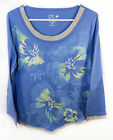Just My Size jms Womens 2fer look Tee Shirt Printed 3/4 sleeve Blue Print 1X