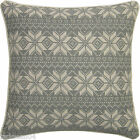 CHRISTMAS SNOWFLAKE SILVER GREY WHITE TAPESTRY THICK COTTON CUSHION COVER 18""