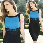 Vintage Women Colorblock Lace Tunic Cocktail Party Work Pencil Casual Dress N792