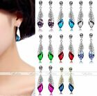 Clear Silvery Crystal Bead Dangle Teardrop Earrings stud Party Wedding Gift