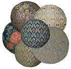 We+ Red Green Blue Beige Blue Orange Daisy Jacquard Cotton Round Cushion Cover