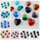 12pcs 14mm Heart Charms Crystal Glass Faceted Pendant Loose Spacer Finding Beads