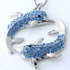 Silver Plated Blue Clear Crystal Dolphin Bead Charm Pendant for Necklace DIY