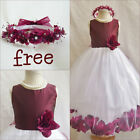 Charming Burgundy Wine rose petals bridal flower girl dress FREE CROWN all sizes