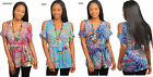 NEW VOGUE WOMENS V neck Off Shoulder Print Tunic Summer Casual Top Blouse Shirt