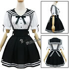 Lolita Black and White Maid Outfit Sailor Bowknot Women Girl Cosplay Costume