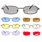 SA106 Mens Narrow Rectangular Metal Rim Classic Spring Hinge Sunglasses