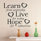 Learn Live Hope Wall Sticker Quote   Living Room Decal Mural Decor Diy Uk