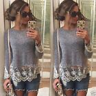 Women Summer Vest Top Long Sleeve Blouse Casual Tank Tops T-Shirt Lace Fashion