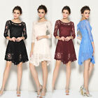 Bridesmaids Wedding 3/4 Sleeve Women's Homecoming Cocktail Prom Party Lace Dress