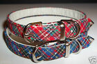 "Designer fabric Dog Collars PLAID Tartan print 3/8"" wide small Red or Blue Cute!"