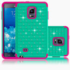 Hybrid Rubber Bling Crystal Matte Hard Case Cover for Samsung Galaxy Note Edge