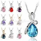 Fashion Women's Shining Big Rhinestones Crystal Teardrop Pendant Chain Necklace